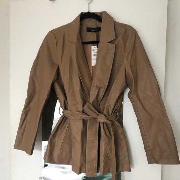 Zara Jackets & Blazers - Faux Leather Cinched Waistbelt Jacket - BRAND new